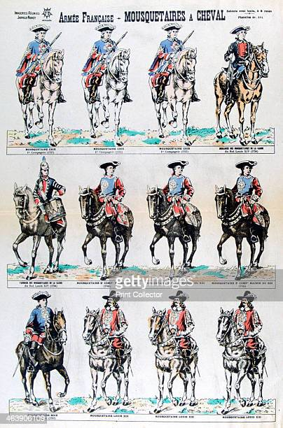 French Army mounted musketeers 17th century French dragoons A print from Imageries Réunies JarvilleNancy 19th century
