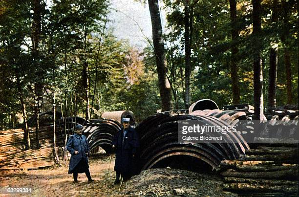 A French Army storage area in the forest near Verdun September 1916 Battle of Verdun Western Front World War I France Autochrome Lumière Photo Jules...
