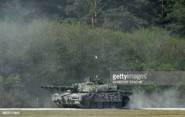French army tank type 'Leclerc' drives during a first shooting of the exercise 'Strong Europe Tank Challenge 2017' at the exercise area in...