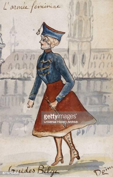 French art nouveau postcard satirising women in military uniform 1900 Belgian cavalry