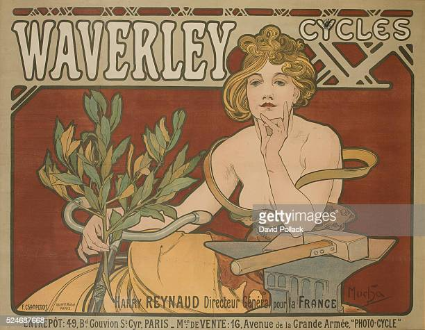 French art nouveau poster of scantily clad woman promoting Waverly Cycles illustrated by Alphonse Mucha ca 1898