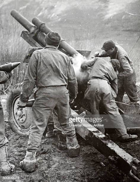 French artillery advance on German positions in the Vosges region France 1944