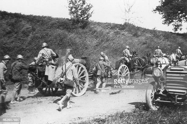 French artillery battery on the move Chemin des Dames France 1918 A strategically important ridge overlooking the River Aisne the Chemin des Dames...