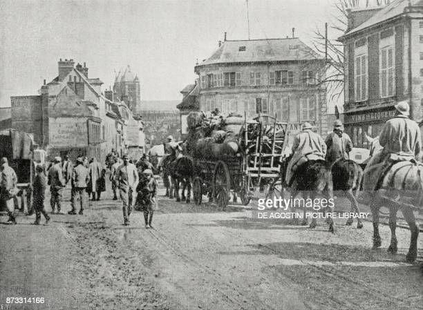 French artillery on the recaptured roads of Noyon France World War I from L'Illustrazione Italiana Year XLIV No 14 April 8 1917