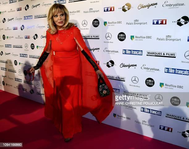 French artist Amanda Lear poses as she arrives for the 26th Film Francais trophies ceremony at the Palais Brongniart in Paris on February 5 2019