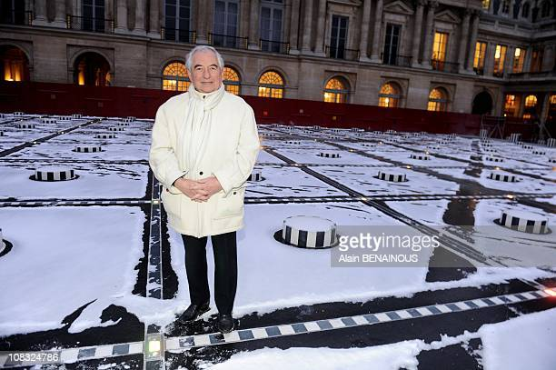 French artist Daniel Buren before the inauguration of his restored sculpture 'Les Deux Plateaux' in the Court of Honor of Royal Palace in Paris...