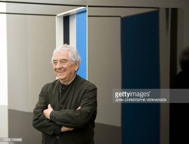 French artist Daniel Buren poses at the Centre PompidouMetz museum on May 6 2011 in Metz eastern France Two master pieces by Buren are shown at the...