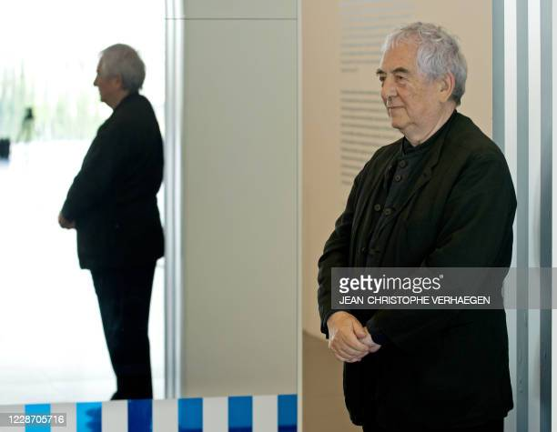 French artist Daniel Buren poses in front of a miror at the Centre PompidouMetz museum on May 6 2011 in Metz eastern France Two master pieces by...