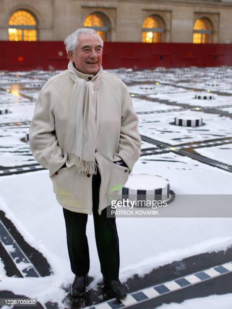 French artist Daniel Buren poses on January 8 2010 at the Palais Royal in Paris before the official unveiling of the renovated Buren's striped...