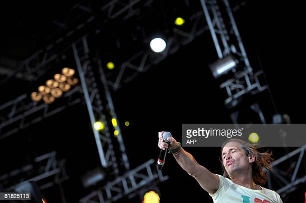 French artist Didier Wampas performs on stage in the La Bande Originale show on July 04 2008 in Belfort eastern France during the 20th edition of the...