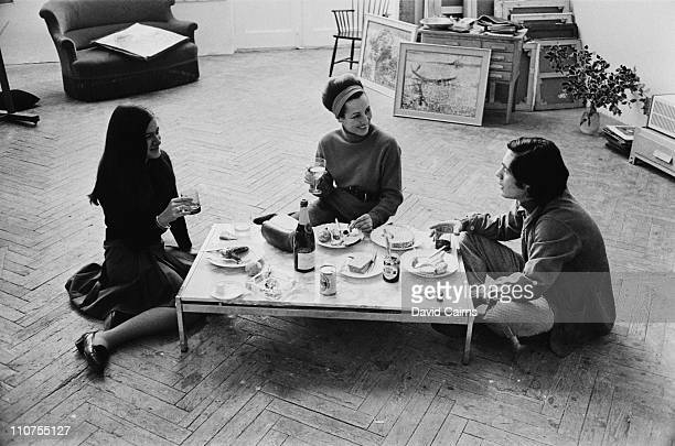 French artist Francoise Gilot with Claude and Paloma, her children by Spanish painter Pablo Picasso, 1966.