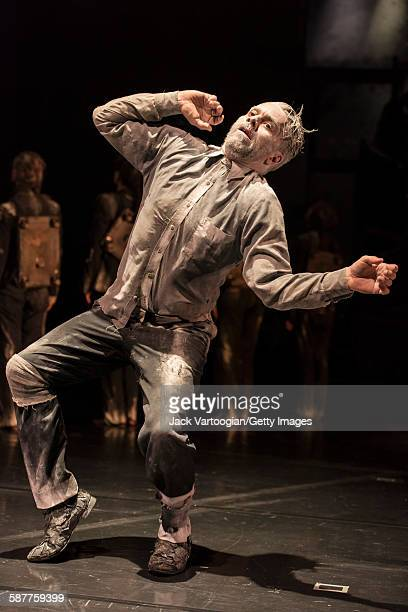 French artist James Thierree of La Compagnie du Hanneton performs in the final dress rehearsal of 'Tabac Rouge' during the Next Wave Festival at the...