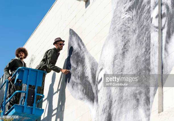 French Artist JR pastes photos of a goat and fishes on the wall of Blum and Poe Gallery on October 10 in Los Angeles California / AFP PHOTO / VALERIE...