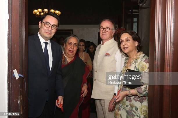 French artist Michel Testard Ambassador of France to India Alexandre Ziegler Malvika Singh and Rajyashree Kumari Bikaner during a preview of painting...