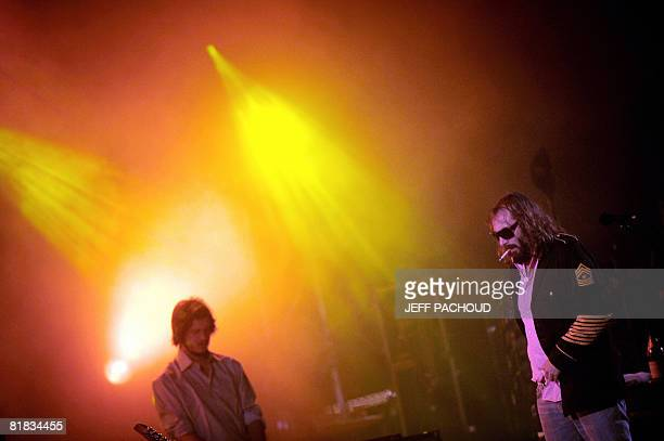 French artist Sebastien Tellier performs on stage 5 July 2008 in Belfort eastern France during the 20th edition of the French rock festival Les...