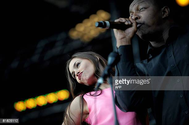 French artists Olivia Ruiz and Oxmo Puccino perform on stage in the La Bande Originale show on July 04 2008 in Belfort eastern France during the 20th...