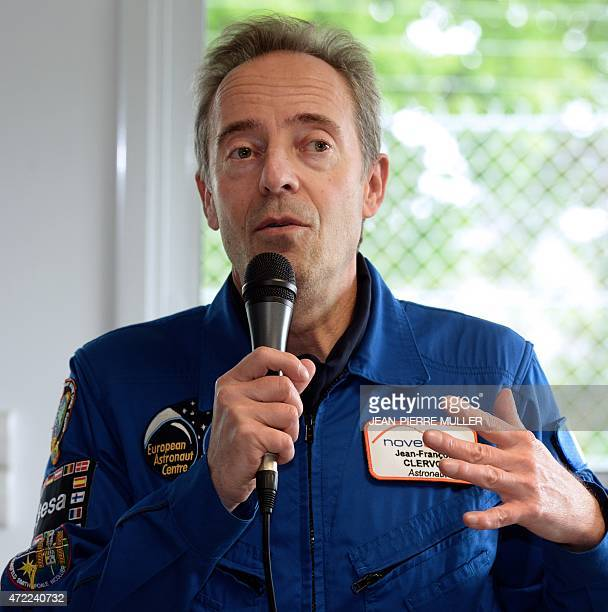 French astronaut JeanFrancois Clervoy President of Novespace a branch of French Space agency CNES poses on the tarmac after participating in tests...