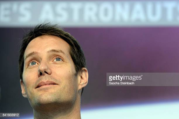 French astronaut Thomas Pesquet speaks to the media at Tim Peake's first press conference since his return from space at the European Space Agency...