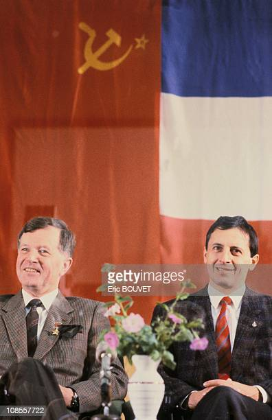 French astronauts JeanLoup Chretien and Michel Tognini in Kazakhstan on November 26th 1988