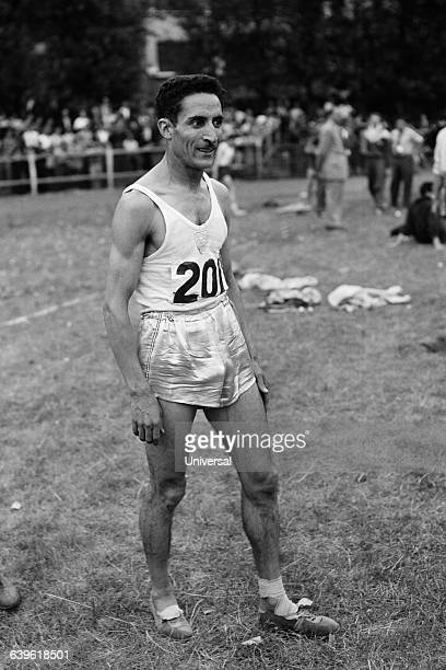 French athlete Alain Mimoun at the end of a cross country run