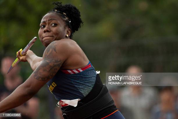 French athlete Alexie Alais competes and wins in women's javelin throw final during the France Athletics Championships 2019 at the HenriLux stadium...