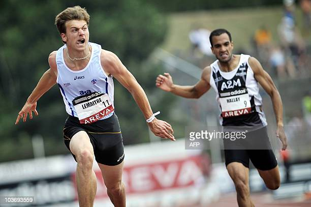 French athlete Christophe Lemaitre competes and wins the 100 m final of the French national athletics championship on July 9 2010 in Valence...