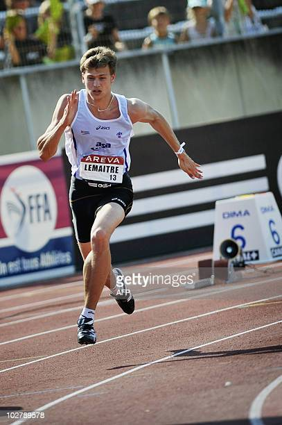 French athlete Christophe Lemaitre competes in the men's 200 m semifinal of the French national athletics championship in Valence southeastern France...