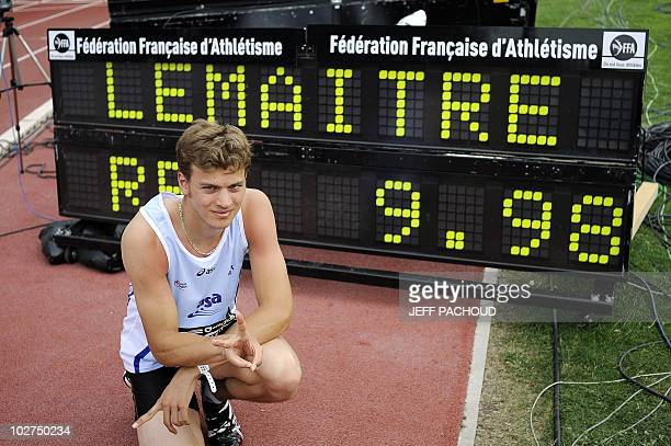 French athlete Christophe Lemaitre poses in front of his performance after winning the 100 m final of the French national athletics championship on...