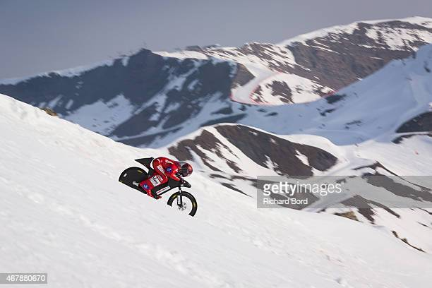 French athlete Eric Barone 54 years old rides his bike before he breaks the World Speed Record by bike with a maximum speed recorded at 22330 Km/h on...