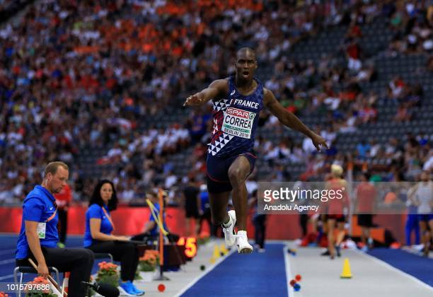 French athlete Harold Correa competes in triple jump final during the 2018 European Athletics Championships in Berlin Germany on August 12 2018