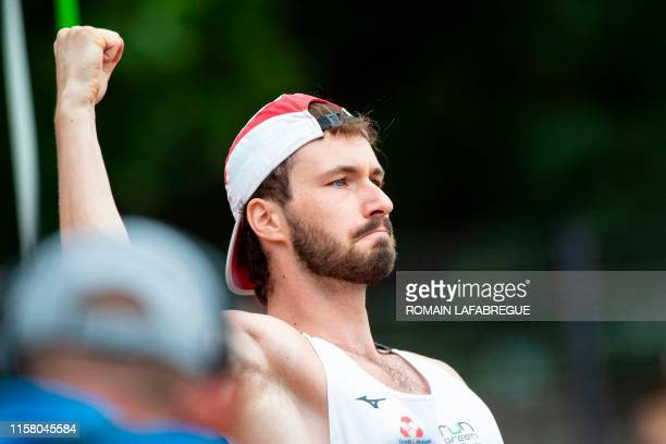 French athlete Lukas Moutarde reacts after winning the men's javelin throw final during the France Athletics Championships 2019 at the HenriLux...