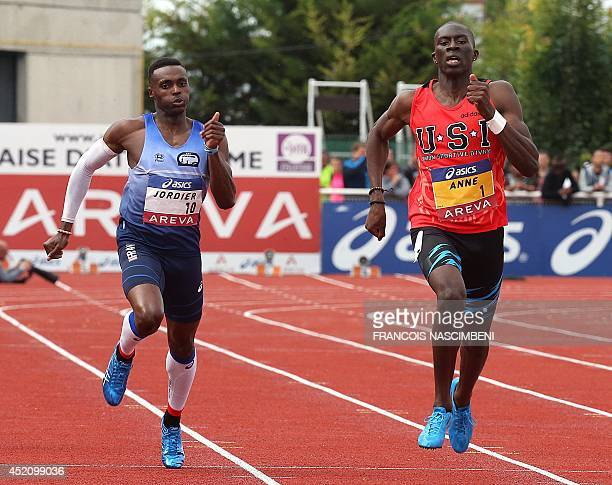 French athlete MameIbra Anne competes and wins the men's 400m event ahead of Thomas Jordier on July 13 2014 during the French Athletics Championships...