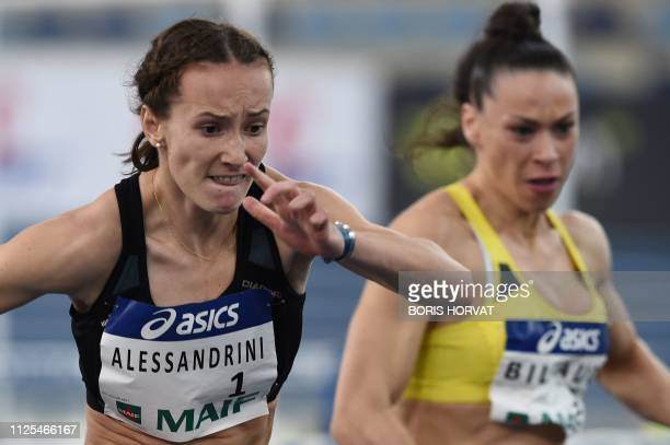 French athlete Sacha Alessandrini competes to win in the 60 meters hurdles along side Cindy Billaud in the French Athletics Championships in Miramas...