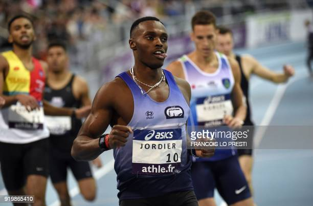 French athlete Thomas Jordier competes to become French champion in the 400m event during the French Indoor Athletics Championships in Lievin on...