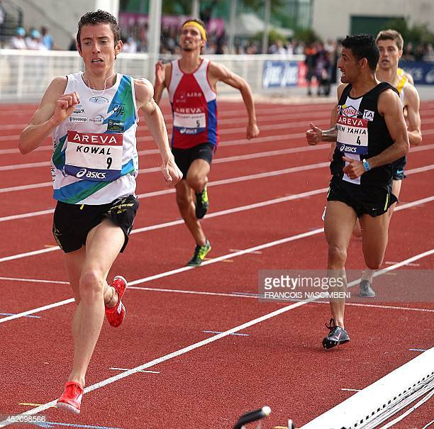 French athlete Yoann Kowal competes and wins the men's 3000m steeplechase event on July 13 2014 during the French Athletics Championships at the...