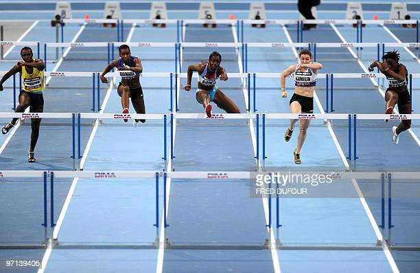 French athlets Rahamatou Drame Aisseta Diawara Sandra Gomis Solene Hamelin and Yariatou Toure compete in the 60M hurdles contest of the French...