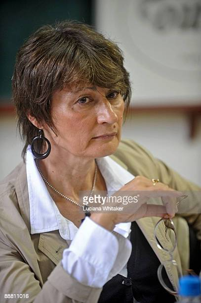 French author and art critic Catherine Millet attends a press conference during the third day of the Paraty International Literary Festival on July 3...