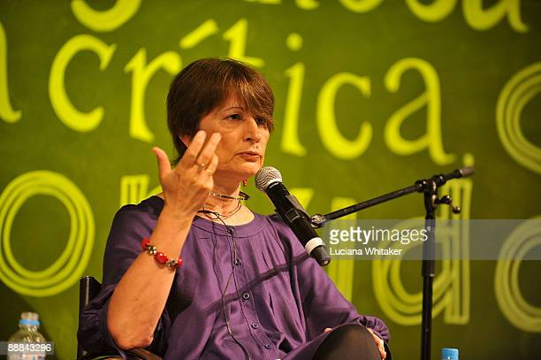 French author Catherine Millet speaks at the talk 'Love�s Labours Lust' as part of the fifth and last day of the Paraty International Literary...