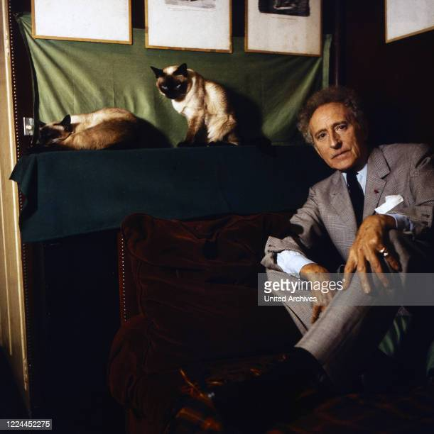 French author, director and painter Jean Cocteau at his studio n Paris, France around 1960.