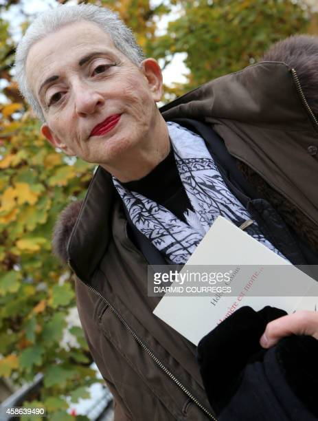 """French author Helene Cixous poses presenting her book """"Homere est morte"""" on November 8, 2014 in Brive-la-Gaillarde. Cixous was awarded today by the..."""