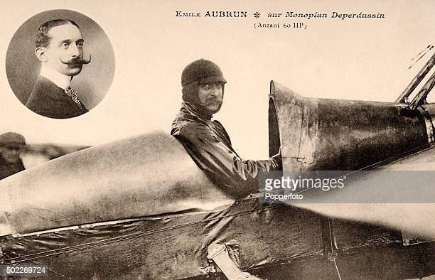 French aviation pioneer Emile Aubrun in the cockpit of an Armand Deperdussin monoplane circa 1910