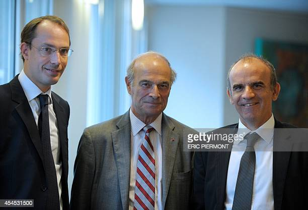 French aviation supplier Latecoere Chairman of the Supervisory Board Pierre Gadonneix poses with Chairman of the Management Board Frederic Michelland...
