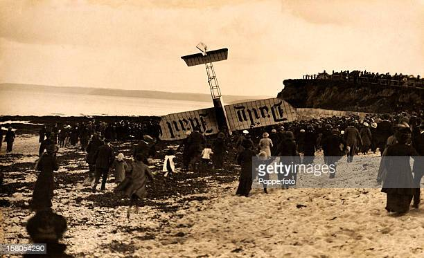 French aviator Henri Salmet, the Daily Mail airman, makes a remarkable landing in his Bleriot monoplane on a beach at Falmouth in Cornwall on 23rd...