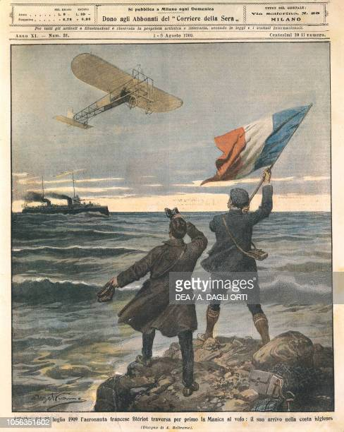 French aviator Louis Bleriot, first person crossing the English Channel, celebrations on the English coast, July 25 illustration by Achille Beltrame...