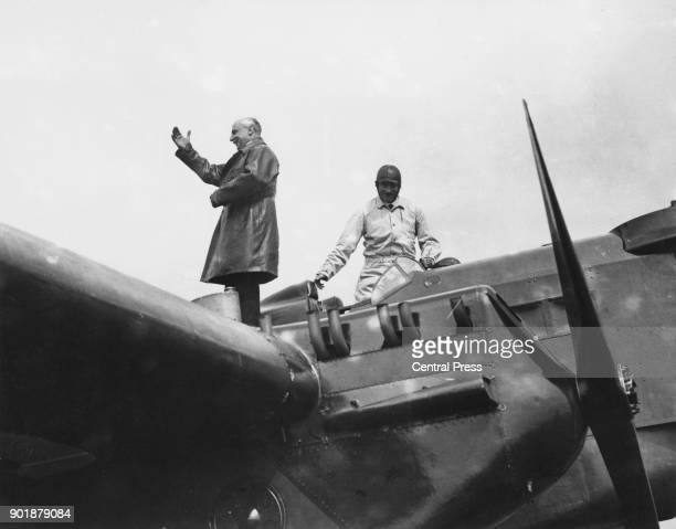 French aviator Louis Blériot arrives at Dover for the 20th anniversary celebrations of his historic flight across the English Channel UK July 1929