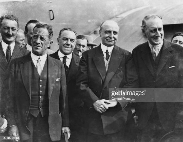 French aviator Louis Blériot at Croydon in London during the 20th anniversary celebrations of his historic flight across the English Channel UK July...