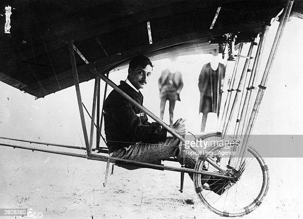French aviator Roland Garros in his SantosDumont Demoiselle aeroplane who took part in the 1911 European Circuit race
