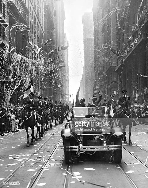 French aviators Dieudonne Costes and Maurice Bellonte in the parade given them up Broadway after being the first to fly nonstop from Paris New York...