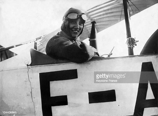 French aviatrix Adrienne BOLLAND who kept all Paris gasping when she looped the loop 98 times within 58 minutes and established a world's record The...