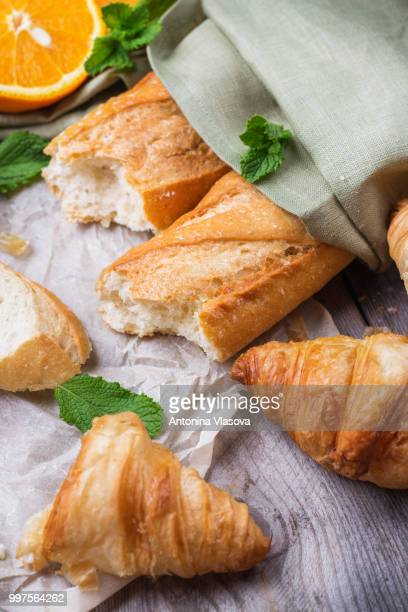 French baguette and croissant for breakfast